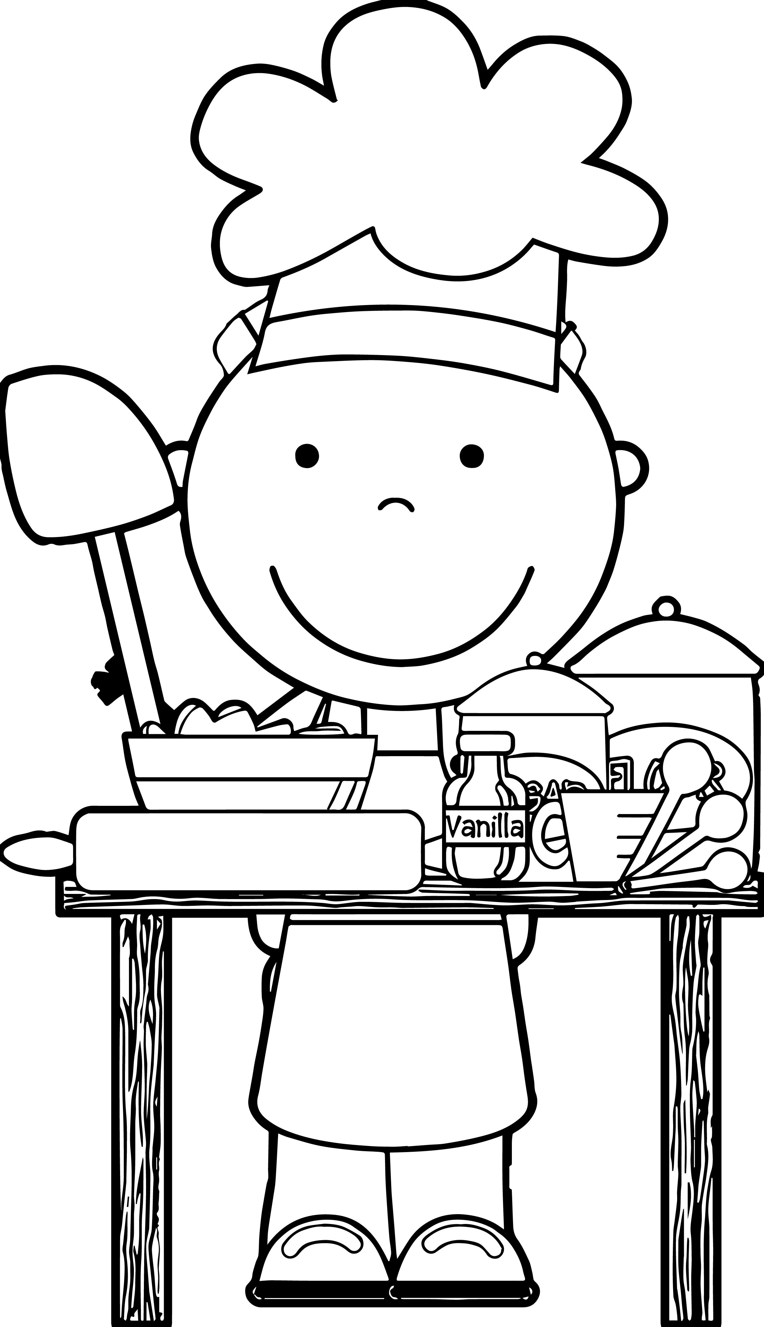 Nice Chef Cooking Free Images Kids Coloring Page | Music