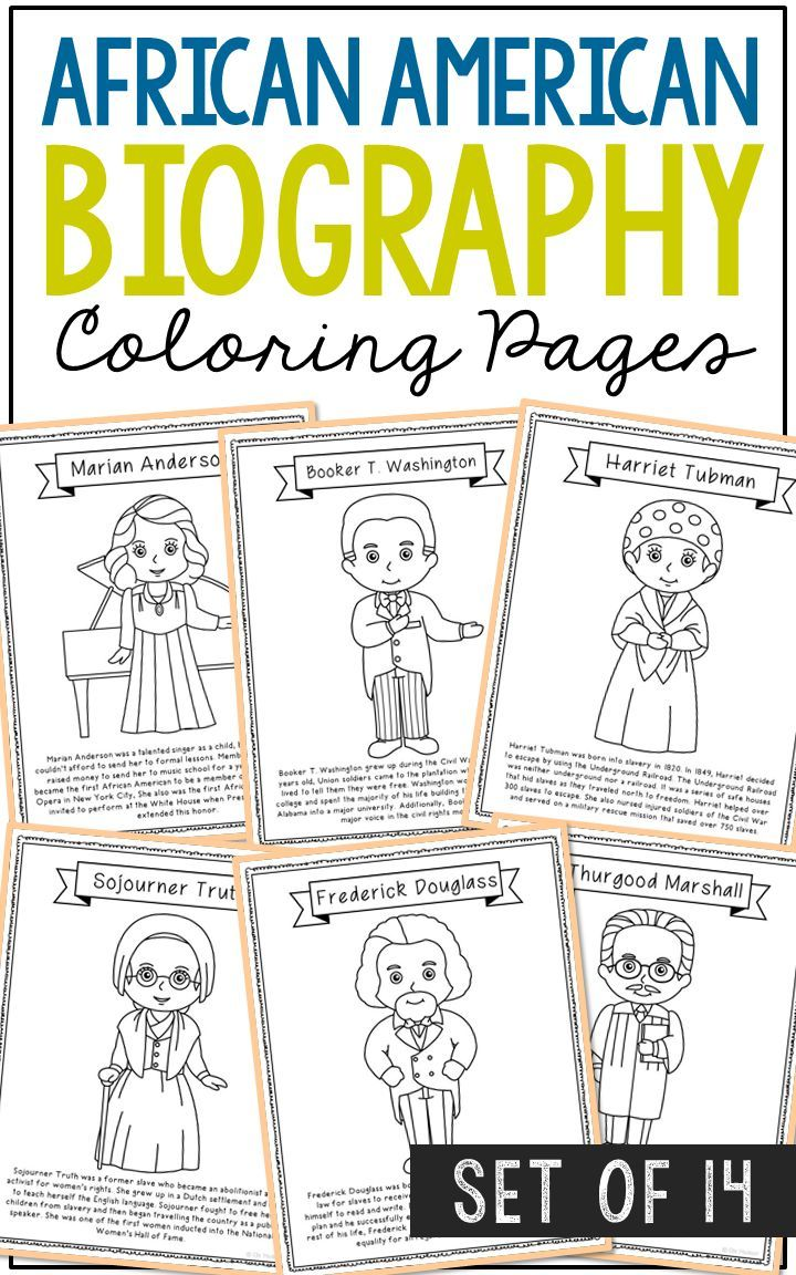 14 African American Coloring Page Crafts, Posters, Black