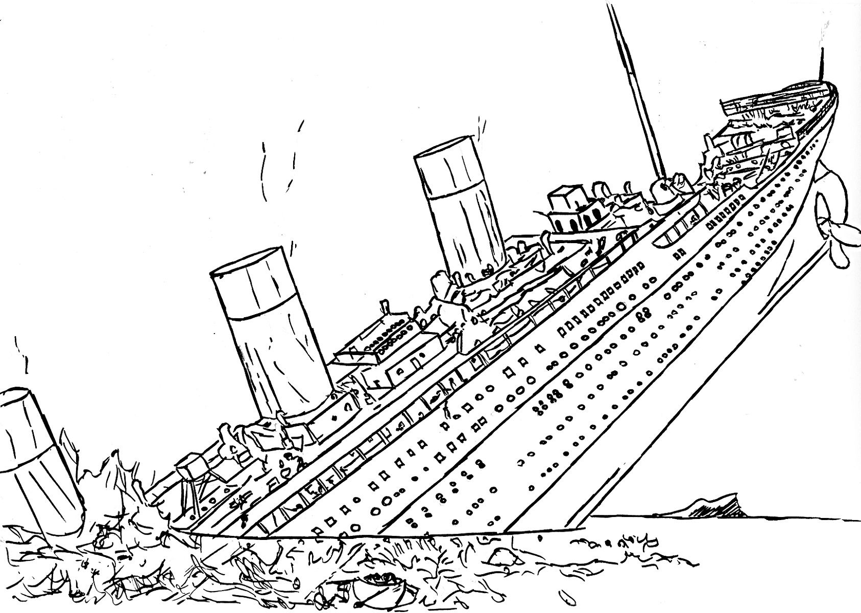 Titanic Sinking Coloring Pages Free To Print | Educative